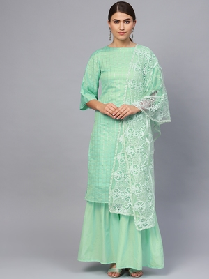 Green Cotton Checks Unstitched Dress Material With Embroidered Dupatta