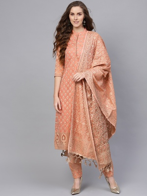 Peach Banarasi Cotton Woven Unstitched Dress Material
