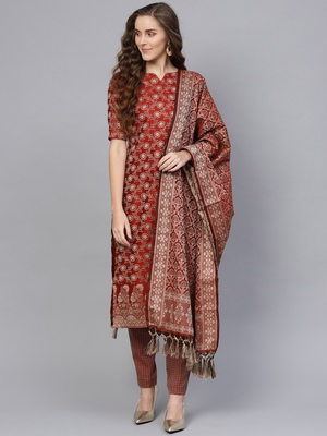 Maroon Banarasi Cotton Woven Design Unstitched Dress Material