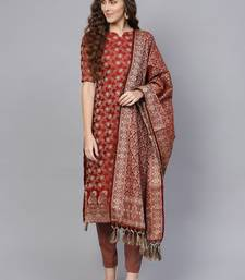 Maroon Banarasi Cotton Woven Design Unstitched Dress Material