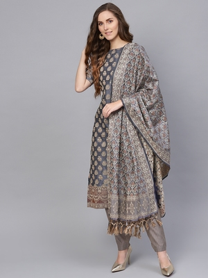 Grey Banarasi Cotton Woven Design Unstitched Dress Material