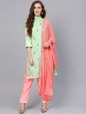 Green Embroidered Chanderi Cotton Unstitched Dress Material