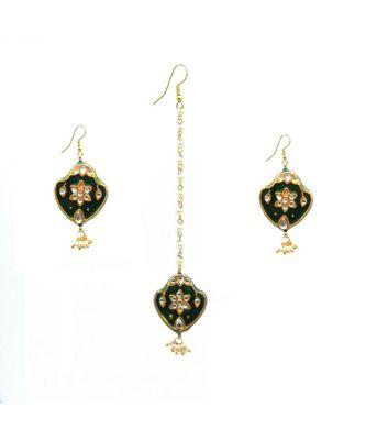 Gold Plated Kundan Maang Tikka With Earrings For Women & Girls