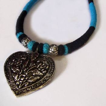 turquoise black pendant choker