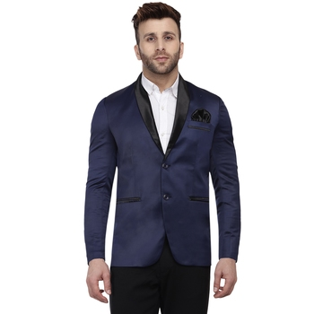Blue Plain Satin Blazer For Men