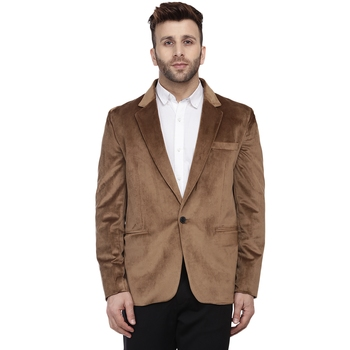 Brown plain velvet Blazer For Men