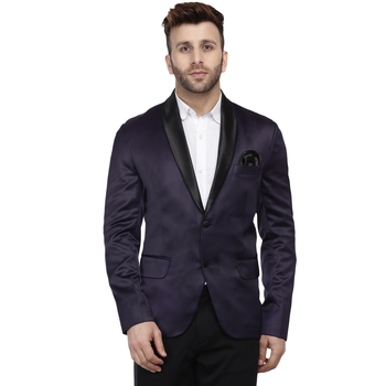 Purple Plain Satin Blazer For Men