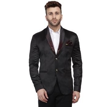 Black plain satin Blazer For Men