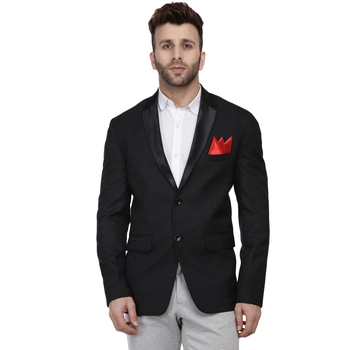 Black Plain Cotton Poly Blazer For Men