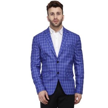 Blue Printed Cotton Checkered Blazer For Men