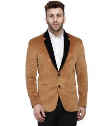 Brown Plain Velvet Blazer For Men
