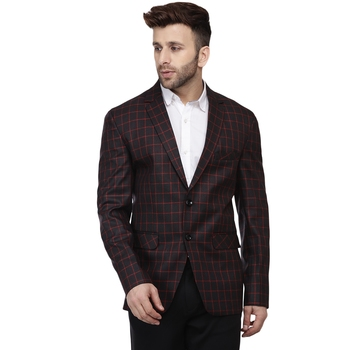 Black Printed Cotton Poly Checkered Blazer For Men