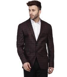 Black Printed Cotton Poly Checkered Blazer For Men