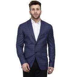 Blue Printed Cotton Poly Checkered Blazer For Men