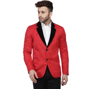 Red plain cotton poly Blazer For Men