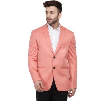 Pink Plain Cotton Poly Blazer For Men