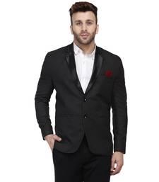 Black  Cotton Poly Blazer For Men
