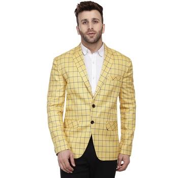 Yellow Printed Cotton Poly Checkered Blazer For Men