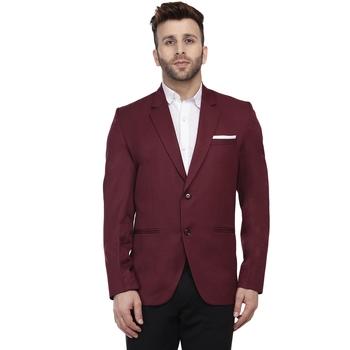 Maroon Plain Cotton Poly Blazer For Men