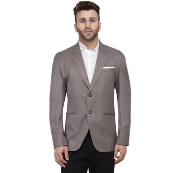 Grey Plain Cotton Poly Blazer For Men