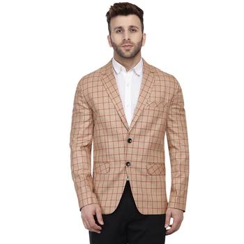 Beige Printed Cotton Poly Checkered Blazer For Men