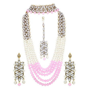 Traditional Gold Plated Pearl & Kundan Bridal Dulhan Jewellery Set for Women