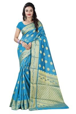 Turquoise woven banarasi silk saree