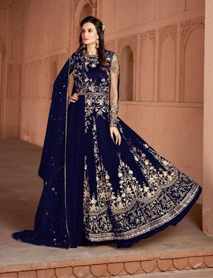 Blue embroidered net salwar