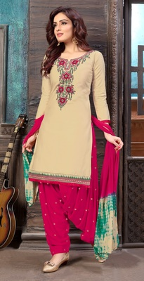 Beige embroidered satin unstitched salwar with dupatta