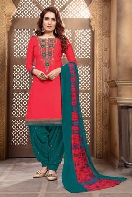 Pink embroidered satin unstitched salwar with dupatta