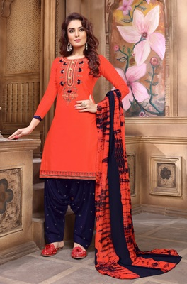 Orange embroidered satin unstitched salwar with dupatta
