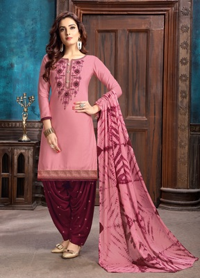 Pink embroidered satin unstitched salwar with dupatta