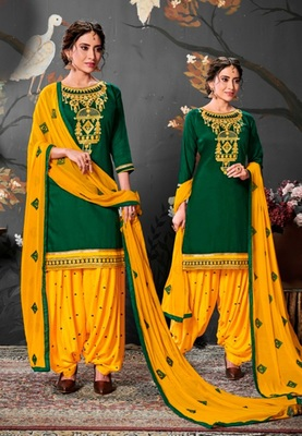 Green embroidered satin unstitched salwar with dupatta