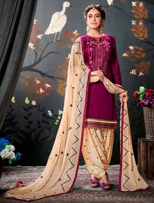 Purple embroidered satin unstitched salwar with dupatta