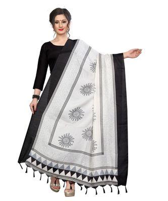 white and black designer printed Duppatta