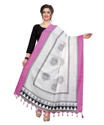 pink and white designer printed Duppatta
