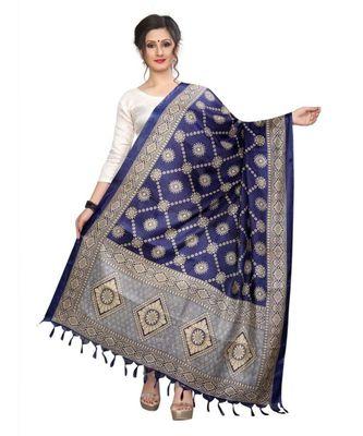 Designer blue printed Duppatta