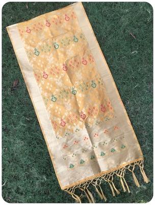 Yellow banarasi silk woven Dupatta
