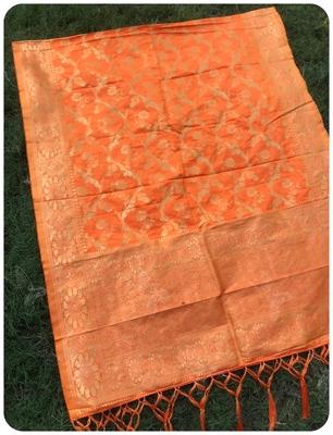 Orange Women Banarsi silk Dupatta
