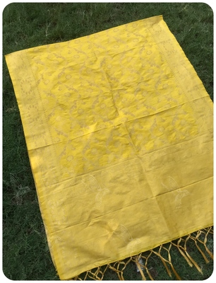 Yellow Women Banarsi silk Dupatta