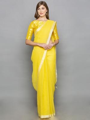 Yellow Kotta Silk plain saree