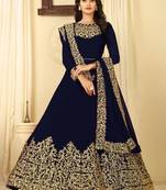 Buy Blue embroidered faux georgette salwar