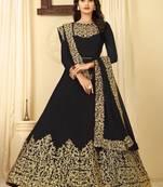 Buy Black embroidered faux georgette salwar
