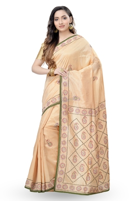 gold embroidered dupion silk Saree with blouse
