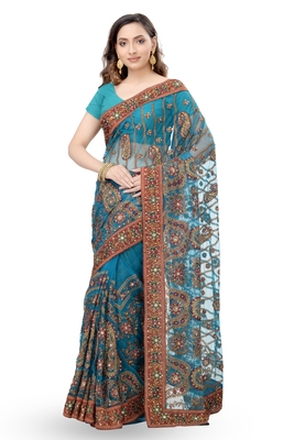 turquoise embroidered net Saree with blouse
