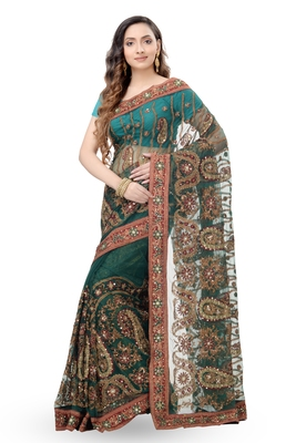 Dark Green Embroidered Net Saree With Blouse