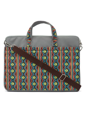 Neon Grey and Multicoloured Printed Polyester Laptop bag