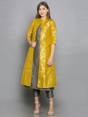 grey woven art silk stitched kurta sets