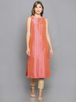 pink woven art silk stitched kurta sets