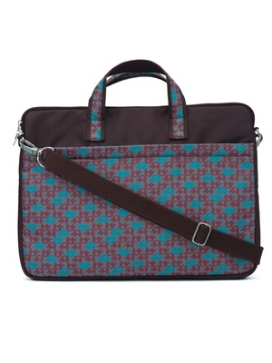 Minikins Brown and Multicoloured Printed Polyester Laptop bag